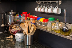 Tools and spices. Kitchen tools and spice for cooking italian Stock Photography