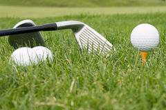 Tools of sport of golf Stock Photos