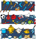 Tools, sports equipment, utensils. The illustration presented sports equipment, tools and utensils in a cartoon style Royalty Free Stock Image