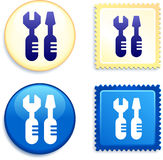 Tools on Stamp and Button Royalty Free Stock Images