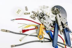 Tools and supplies for the installation of Internet and televisi. On Royalty Free Stock Image