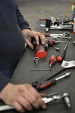 Tools Table at Mechanic Stock Image