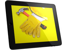 Tools On Tablet Computer Screen Royalty Free Stock Images