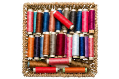 Tools for tailor. Multi colored yarns and tools to tailor Stock Images