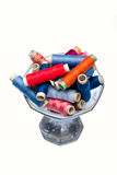 Tools for tailor. Multi colored yarns and tools to tailor Stock Photo