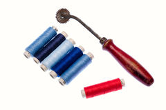 Tools for tailor. Multi colored yarns and tools to tailor Royalty Free Stock Photos