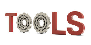 Tools text with gears Royalty Free Stock Images