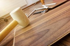 Tools to laying laminate Stock Photo