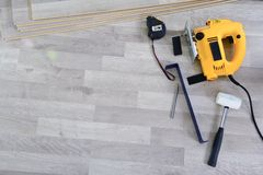 Tools to Laying Laminate Royalty Free Stock Photography