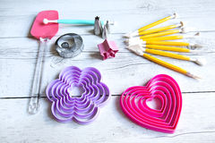 Tools to make cookies. Cake and cake decorated Stock Photography