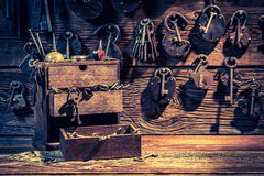 Tools to repair in small locksmiths workshop Royalty Free Stock Image