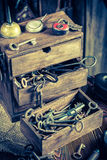 Tools to repair in vintage locksmiths workshop Royalty Free Stock Photography
