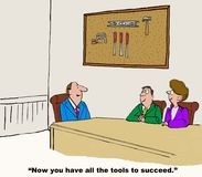 Tools to Succeed. Business cartoon of business meeting and a peg board with tools on it on the wall. Business leader is saying to managers, 'now you have all the royalty free illustration