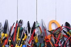 Tools to use in electrical installations Royalty Free Stock Photo