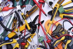 Tools to use in electrical installations Stock Images