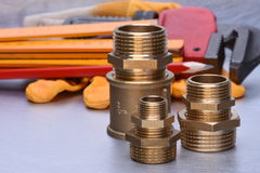 Tools to work on heating systems and plumbing royalty free stock photo