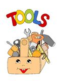 Tools in a toolbox. Cartoon tools in a toolbox on white background - kid  illustration Royalty Free Stock Photography