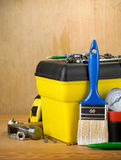 Tools and toolbox on wood Royalty Free Stock Image
