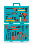 Tools in a tools box. Flat hardware tools set in a case Stock Photo