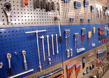 Tools on toolstable on the wall Stock Photography