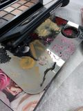 Makeup Pallette, Makeup Artist Work Station stock image