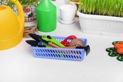 Tools for the transplantation of flowers. stock photography