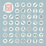 Tools and Travel Icon set on blue paper Royalty Free Stock Images