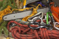 Tools for trimming trees, utility arborists. Chainsaw, rope and carabiners to work lumberjack Stock Photo