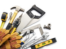 Tools. Variety of tools against white background with copy space stock photo