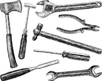 Tools. Vector drawing of a different work tools Royalty Free Stock Image