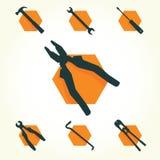 Tools vector icon set Stock Image