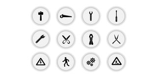 Tools vector icons. Tools icon symbols. Tools icon images stock illustration