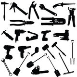Tools vector silhouette illustration. On white background Stock Illustration