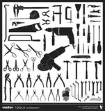 Tools vector silhouettes Stock Photography