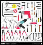 Tools vector silhouettes Stock Images