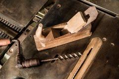Tools. Vintage tools like plane, drill stock image