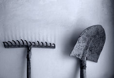 Tools. On the wall in black and white Royalty Free Stock Images