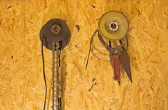 The tools on the wall of a wood particle Board. Royalty Free Stock Photography