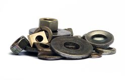 Tools washer and nuts. Royalty Free Stock Photography