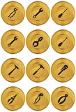 Tools Web Button - Gold Coin. Set of 12 tools web buttons - gold coin style vector illustration