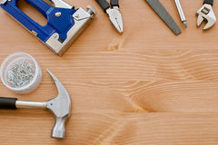 Tools on the wood. Board stock photography