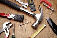 Tools on wood background Stock Photo