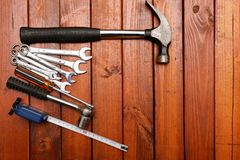 Tools on wood background Royalty Free Stock Photos