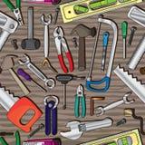 Tools Wood Seamless Pattern_eps. Illustration of tools on the wood table seamless pattern Royalty Free Stock Image