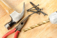 Tools on a wood table Royalty Free Stock Photo