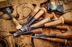 Tools of the woodcarver Royalty Free Stock Photography