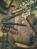 Tools for wooden art work. Old tools for traditional wooden art work stock photo