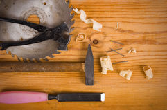 Tools on a wooden background Stock Image