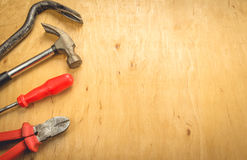 Tools on a wooden background Stock Photo