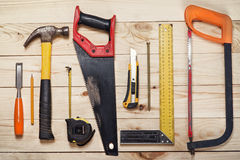 Tools on wooden background Royalty Free Stock Photography